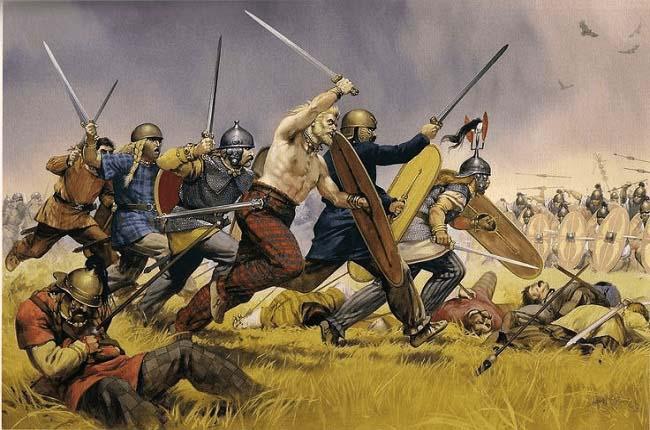 Infantería del ejército cartaginés atacando a las tropas romanas, enemigas de Magón Barca, durante las Guerras Púnicas