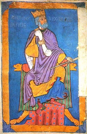 Miniatura que representa al rey Alfonso VI de León, señor del Cid Campeador, en una miniatura que forma parte del Tumbo A de la catedral de Santiago de Compostela