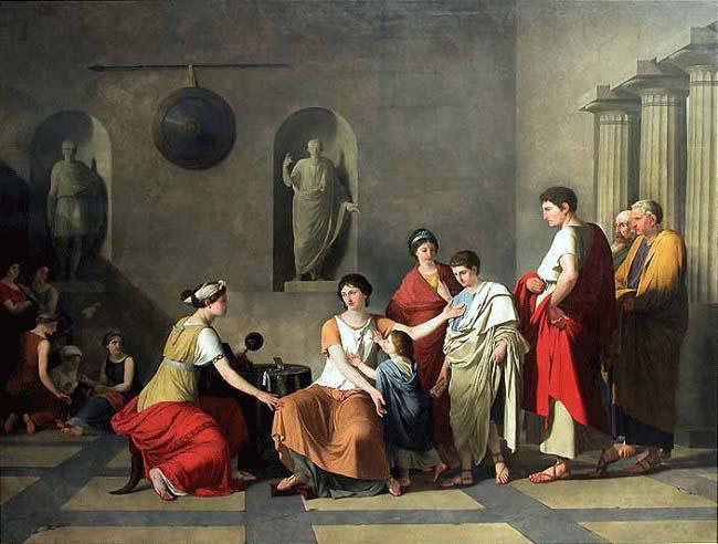 Cornelia, madre de los Graco. Obra sobre la madre de Tiberio Graco hecha por Joseph-Benoît Suvée a finales del siglo XVIII