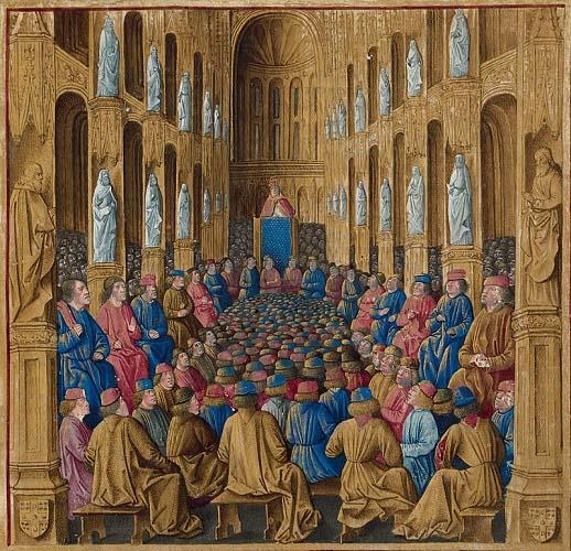 El papa Urbano II en el Concilio de Clermont, que desencadenó la Primera Cruzada al final de la vida de Rodrigo Díaz de Vivar