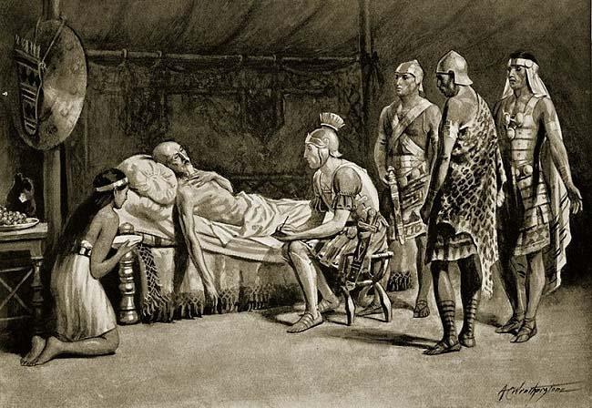 Escipión Emiliano en el lecho de muerte del rey Masinisa, muerto al principio de la Tercera Guerra Púnica. Obra de Alfred Weatherstone hecha a principios del siglo XX
