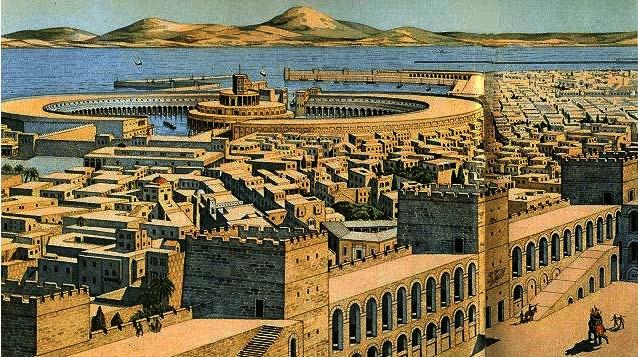 Ilustración que recrea parte de la ciudad de Cartago, foco de las causas de la tercera guerra púnica
