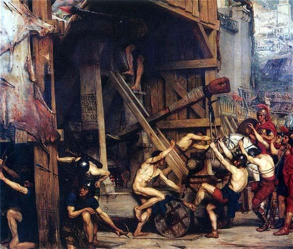 La catapulta, de Edward Poynter (1868), trata de recrear uno de los momentos en los que los romanos usaron máquinas de asedio para intentar atravesar las máquinas de asedio durante la Tercera Guerra Púnica