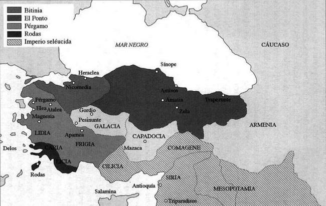 Mapa de la península de Anatolia en el 187 a.C. que incluye al reino de Pérgamo