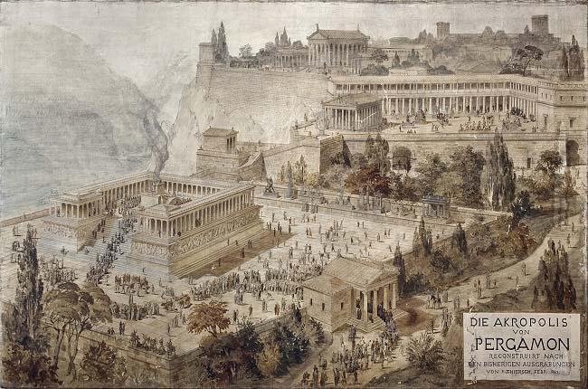 Pintura sobre la acrópolis de la ciudad de Pérgamo realizada por Friedrich von Thiersch en 1882. Pérgamo fue una de las grandes disputas de Tiberio Graco