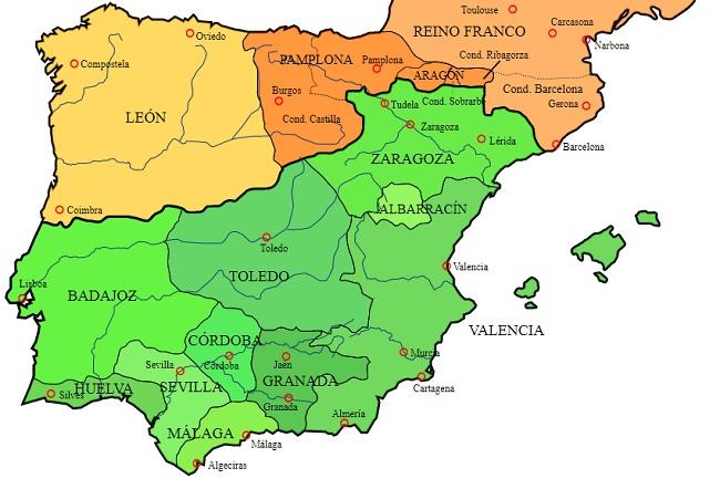Mapa de la península Ibérica hacia el 1031, cuando se acabó el califato omeya de Córdoba