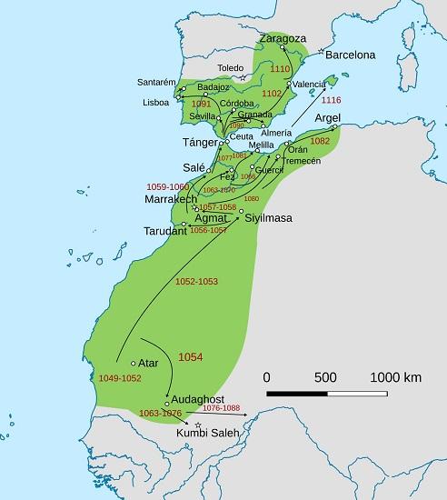 Mapa que muestra las distintas etapas de las conquistas almorávide (siglo XI-XII), en tiempos de Rodrigo Díaz de Vivar