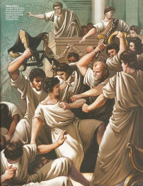 Grabado coloreado de 1842 en el que se recrea la muerte de Tiberio Graco por parte de los senadores