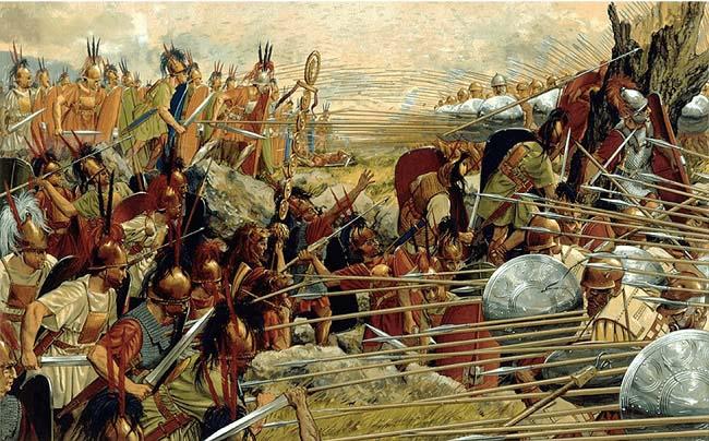 Ilustración que recrea la batalla de Pidna (168 a.C.). Una de las consecuencias de las guerras púnicas fue la anexión de Macedonia como una provincia romana en el 148 a.C.