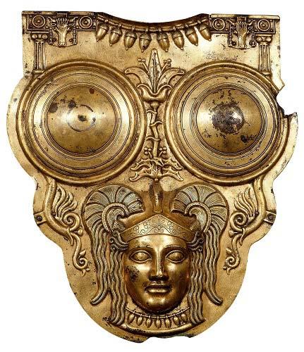 Coraza cartaginesa de bronce dorado datada del siglo III a.C. Una de las consecuencias de las guerras púnicas fue la destrucción total de Cartago