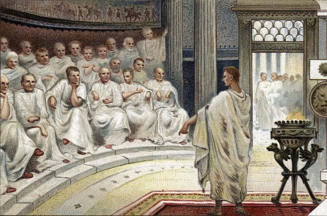 Obra del siglo XIX que recrea uno de los discursos de Marco Porcio Catón en el Senado. Las consecuencias de las guerras púnicas se precipitarían a partir de este momento