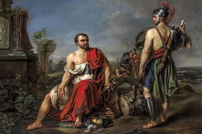 Cayo Mario sentado en las ruinas de Cartago, Joseph Kremer siglo XVIII. Este general participó en la guerra de los aliados