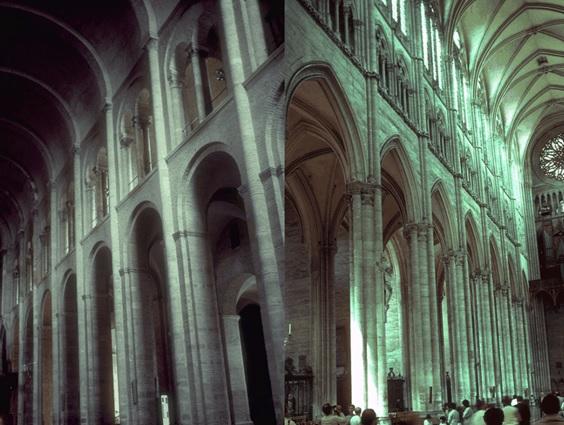 Comparación entre una iglesia románica (izquierda) y una iglesia gótica (derecha). Destacan las diferencias entre los arcos y la bóveda, además de los ventanales luminosos del tercer piso en el arte gótico