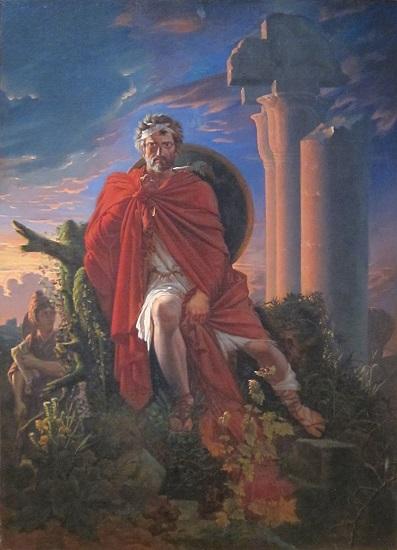 Mario meditando sobre las ruinas de Cartago, obra de Pierre-Nolasque Bergeret que recrea un episodio de la guerra civil romana