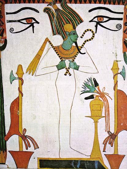 Representación de Osiris, uno de los dioses del antiguo Egipto, en la tumba de Sennedjem
