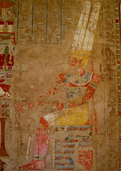 Representación de Ra, uno de los dioses del antiguo Egipto, en el Templo de Hatshepsut