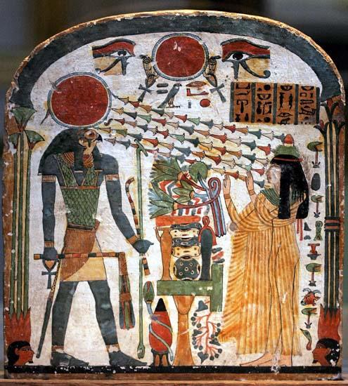 Representación de una mujer alabando a Ra-Horajty, uno de los dioses del antiguo Egipto