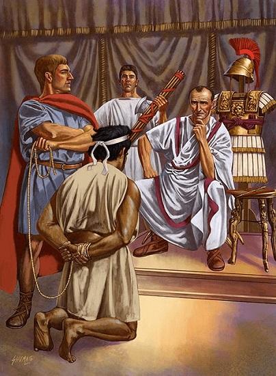 Ilustración que recrea el momento en que Yugurta fue llevado como prisionero a comparecer ante Cayo Mario por la guerra de Yugurta