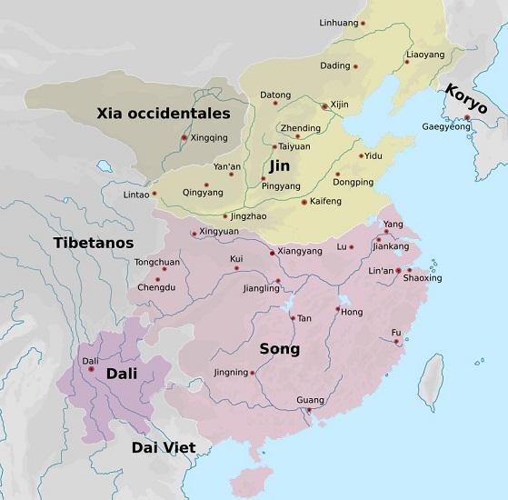 China en la segunda mitad del siglo XII, en el nacimiento de Gengis Kan