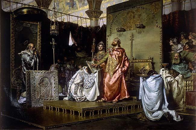 """""""Conversión de Recaredo I del arrianismo al catolicismo"""", es un cuadro de Muñoz Degrain expuesto actualmente en el Senado que recrea a uno de los reyes godos de Hispania"""