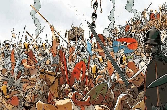 Ilustración que recrea una de las batallas de la Guerra de los Aliados, Guerra Social o Guerra Mársica (91 - 88 a.C.)