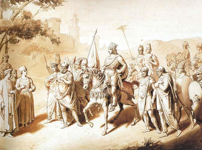 Ilustración del siglo XIX que representa al rey Tigranes II de Armenia, cómplice en las Vísperas Asiáticas