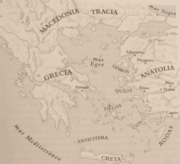 Mapa de Grecia, las islas del Egeo y Anatolia occidental, escenario de las Vísperas Asiáticas