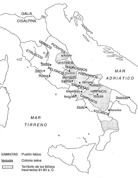 Mapa de Italia a comienzos de la Guerra de los Aliados o Guerra Social (91 - 88 a.C.)