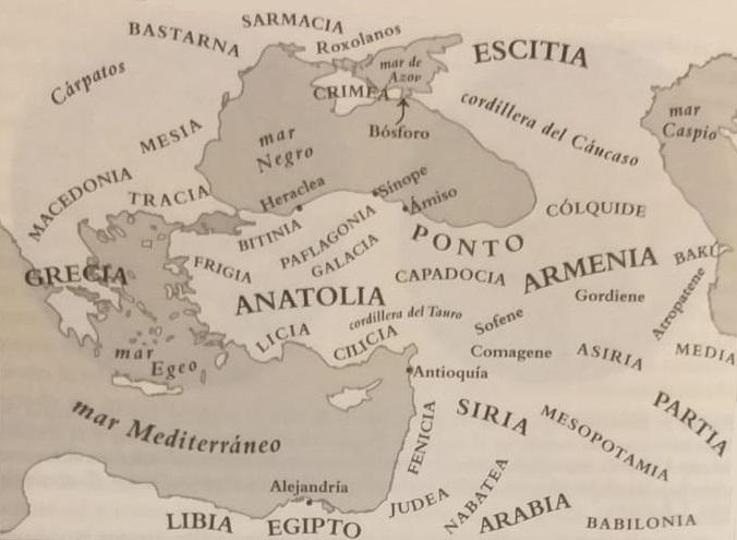 Mapa del Mediterráneo Oriental y la región del mar Negro, escenario militar que causó la primera guerra civil romana