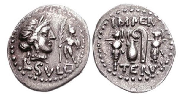Moneda de Lucio Cornelio Sila acuñada en la ceca militar que llevó a la guerra contra Mitríades
