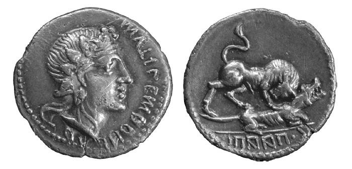 Moneda de plata acuñada por los aliados itálicos en la guerra de los aliados en la que se observa al toro corneando a la loba (Beard, 2015)