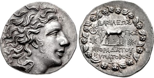 Moneda de plata en la que se representa al rey Mitrídates VI el Grande