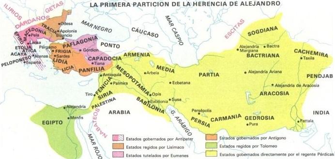 Primera división del imperio de Alejandro Magno entre los diádocos