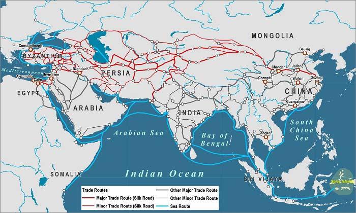 Mapa que muestra la ruta de la Seda en el siglo XII antes de la conquistas del imperio de los mongoles de Gengis Kan
