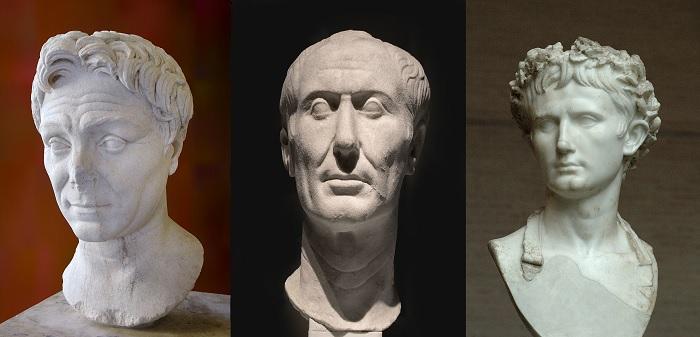 Bustos de Pompeyo Magno (izquierda), Julio César (centro) y Augusto (derecha), sucesores de la propaganda de Cornelio Sila