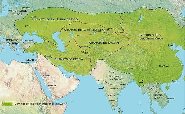 Mapa que muestra la extensión del Imperio Mongol en el momento de la muerte de Gengis Kan en 1227