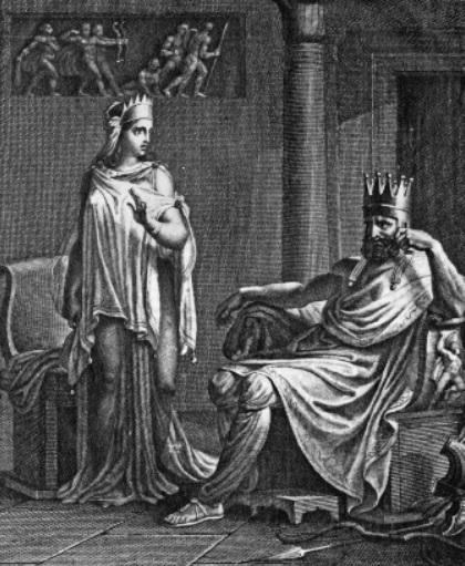 Ilustración de la tragedia Racine, Mitrídates, grabada por Girardet, en la que se representa al rey póntico y su esposa, protagonistas de la segunda guerra mitridática