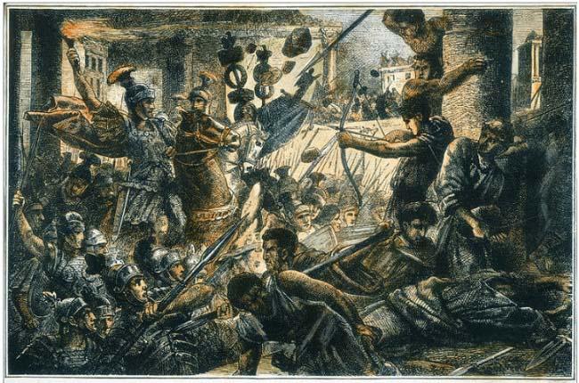 Ilustración que representa a Lucio Cornelio Sila entrando en Roma en el 82 a.C., al final de la primera guerra civil romana