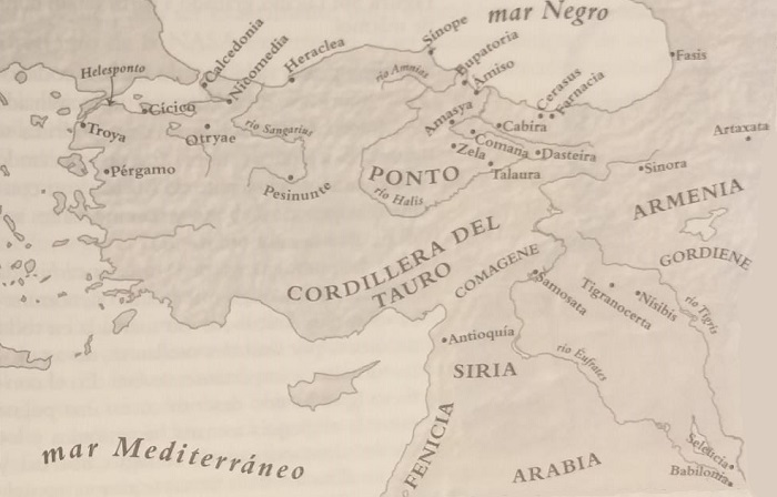 Mapa de la península de Anatolia con las principales ciudades protagonistas de la segunda guerra mitridática