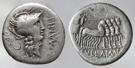 Moneda acuñada en el 82 a.C. durante la dictadura de Sila que conmemora los triunfos de Lucio Cornelio Sila