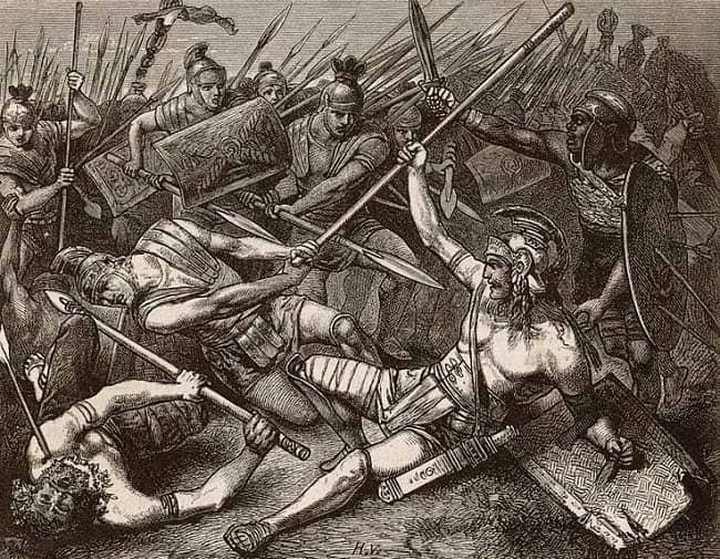 Ilustración del siglo XIX que recrea la muerte de la rebelión de Espartaco