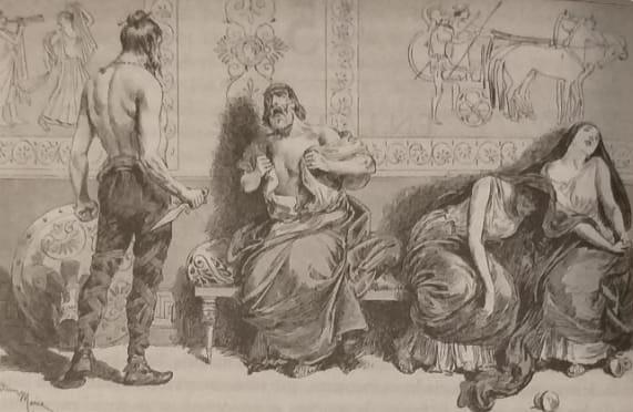 Ilustración de finales del siglo XIX que representa el suicidio de Mitrídates VI del Ponto y varias de sus hijas tras su derrota en la Tercera Guerra Mitridática