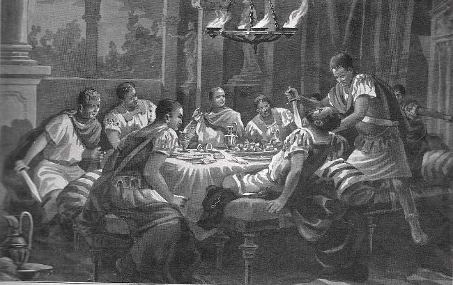 Ilustración que recrea el asesinato de Quinto Sertorio, enemigo de Pompeyo Magno, por parte de sus propios oficiales