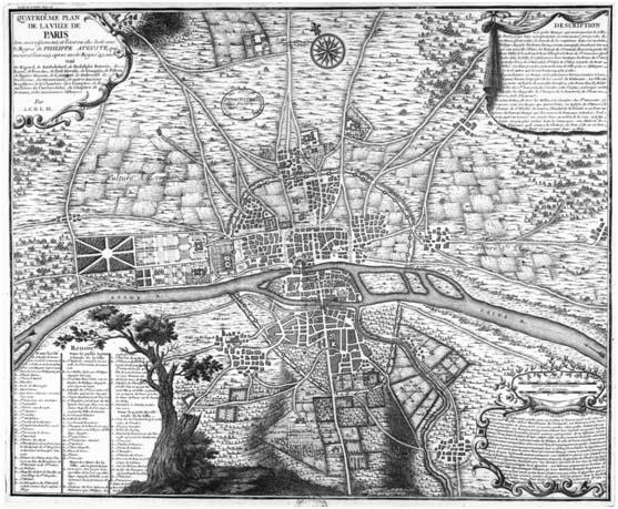 Plano de la expansión de París en el siglo XIII, la ciudad que acogería la catedral de Notre Dame