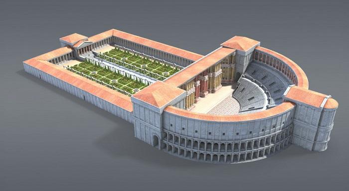 Recreación virtual en 3D del teatro romano de Pompeyo, creado en Roma tras el final de las Guerras Mitridáticas