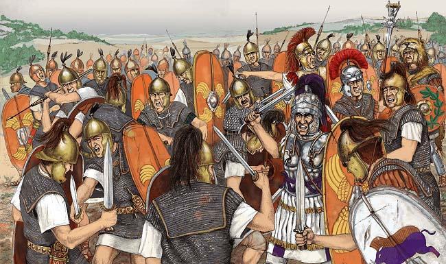 Ilustración que recrea una de las batallas entre romanos de las guerras entre Sertorio y Pompeyo Magno