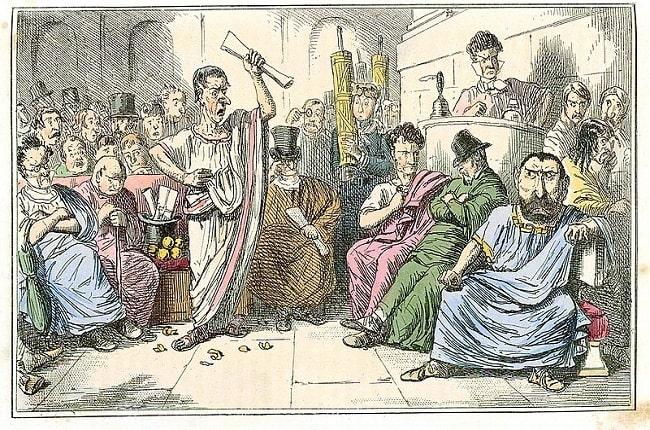 Caricatura de mediados del siglo XIX en la que se representa a Cicerón durante la denuncia de la conjuración de Catilina