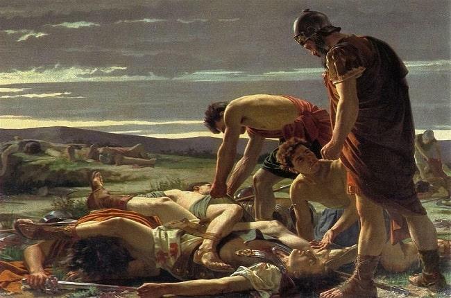 El descubrimiento del cuerpo de Catilina, obra de Alcide Segoni hecha en el siglo XIX