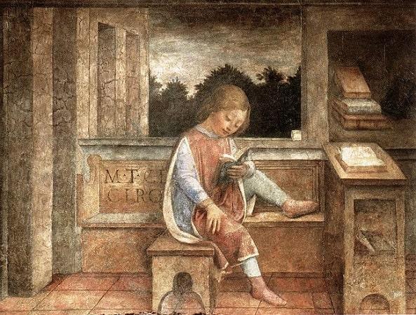 El joven Marco Tulio Cicerón leyendo, fresco realizado por Vincenzo Foppa en 1464