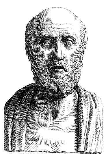Grabado de Hipócrates de Cos, uno de los fundadores de la medicina hipocrática